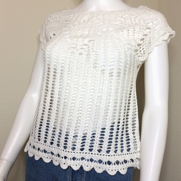 Vintage Tops - Vintage blouse crochet festival top swimsuit cover
